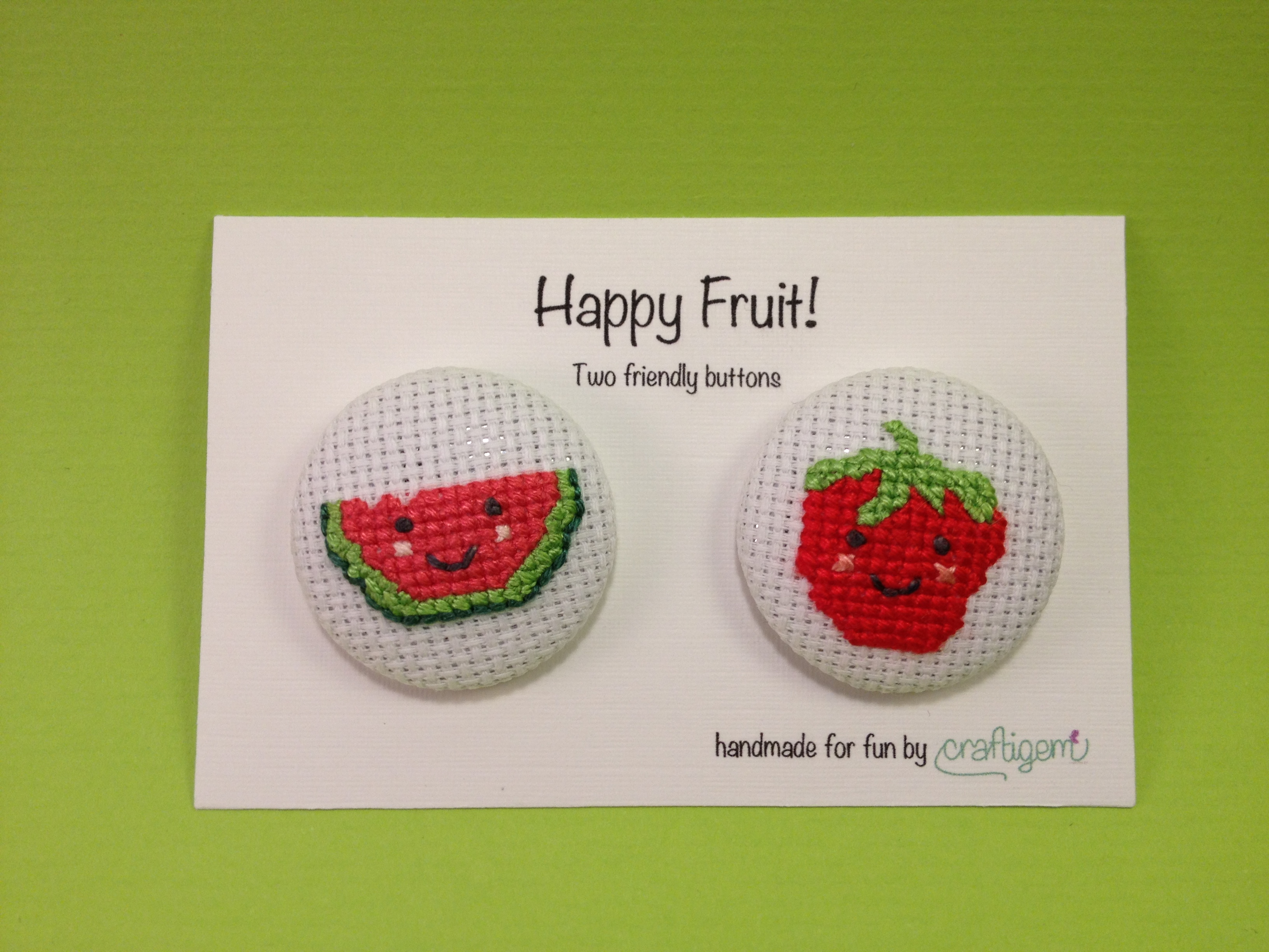 Fruit buttons - watermelon and strawberry