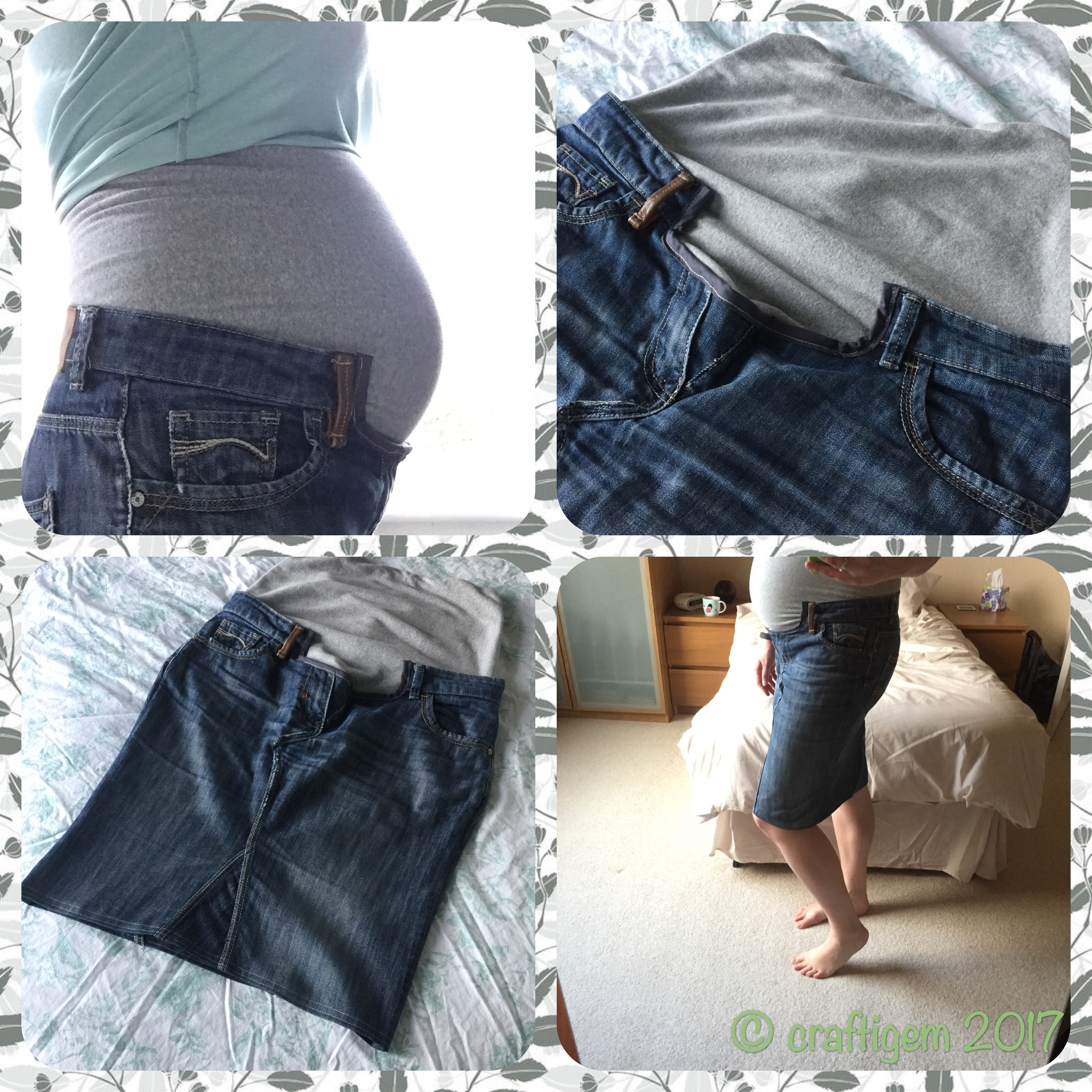 collage of the jeans maternity skirt conversion